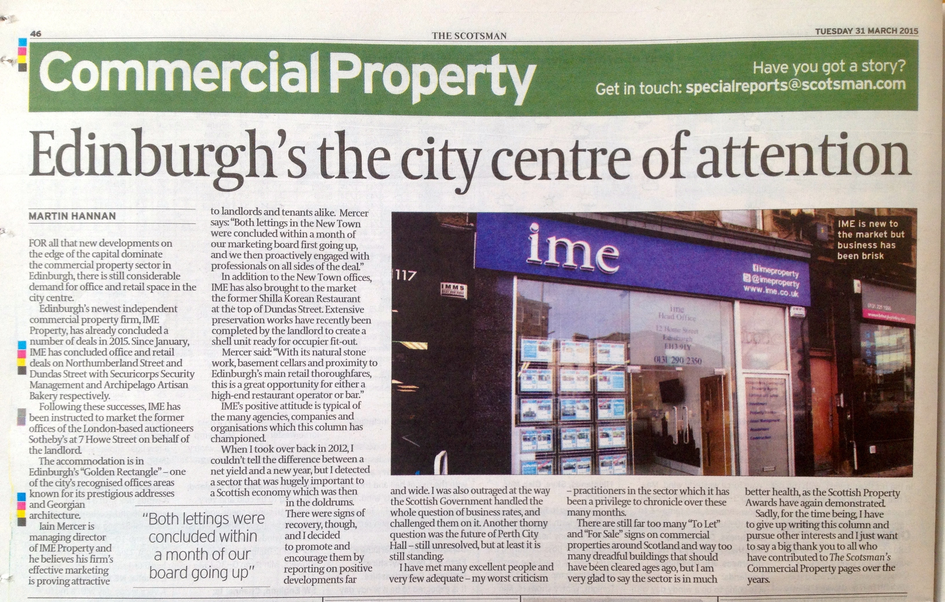 Commercial Property - Edinburgh's the city centre of attention